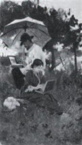 lexei STEPANOV, Isaac Levitan and Sofia Kuvshinnikova Working on Sketches. 1887