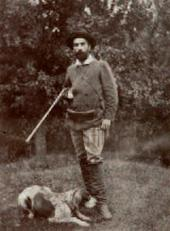 Isaac Levitan and his dog Vesta out hunting Photograph. Before 1893