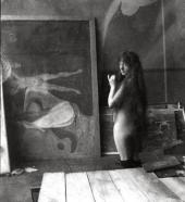 MODEL IN MUNCH'S STUDIO IN BERLIN.1902