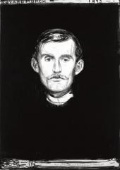 SELF-PORTRAIT WITH SKELETON ARM 1895. LITHOGRAPH