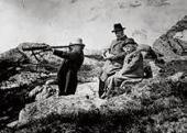 JULIUS RÖNTGEN, FRANTS BEYER AND EDVARD GRIEG HIKING. 1900