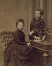NINA AND EDVARD GRIEG. WEDDING PHOTO. 1867. COPENHAGEN