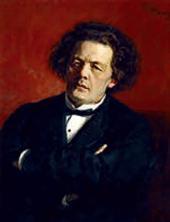 ILYA REPIN. PORTRAIT OF THE COMPOSER ANTON RUBINSTEIN. 1881