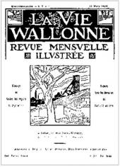 Cover of the magazine La Vie Wallonne. 15 March 1924