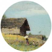 Summer Landscape with an Artist. Detail.