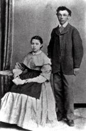 Ivan Pokhitonov with his sister Anastasia. Photo. Early 1870s