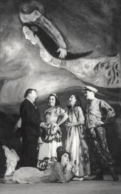 Marc Chagall at the opening night of the ballet Aleko. Mexico. 1942