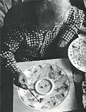 Marc Chagall working on a model of the Paris Opera ceiling. 1963