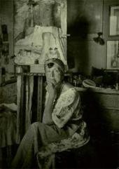 Marianne Werefkin in her studio. Ascona. 1925-1930