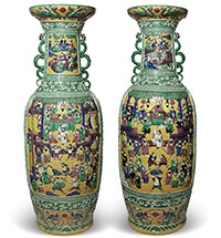 "Paired Chinese Vases. WITH SUBJECTS FROM THE NOVEL ""WATER MARGIN"" BY SHI NAI'AN"